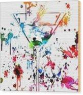 Martini Paint Splatter Wood Print
