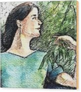 Mary In The Garden Wood Print