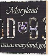 Maryland License Plate Wood Print