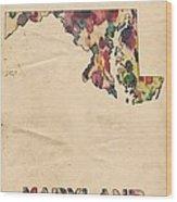 Maryland Map Vintage Watercolor Wood Print