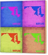 Maryland Pop Art Map 1 Wood Print