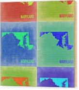 Maryland Pop Art Map 2 Wood Print