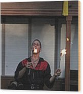 Maryland Renaissance Festival - Johnny Fox Sword Swallower - 121296 Wood Print by DC Photographer