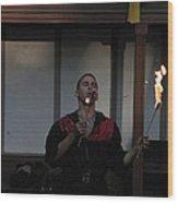 Maryland Renaissance Festival - Johnny Fox Sword Swallower - 121299 Wood Print by DC Photographer