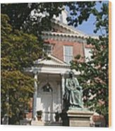 Maryland State House And Statue Wood Print