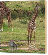 Masai Mara Wildlife Scene Wood Print