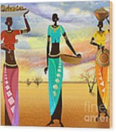 Masai Women Quest For Grains Wood Print