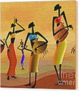 Masai Women Quest For Water Wood Print