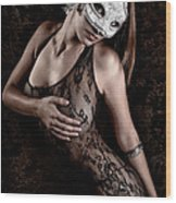 Mask And Lace Wood Print