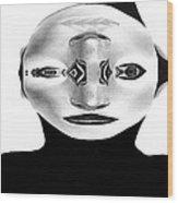 Mask Black And White Wood Print