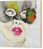 Mask In Watercolor Wood Print