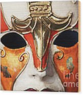 Mask Wood Print by John Rizzuto
