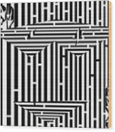 Mask Of The Maze  Wood Print