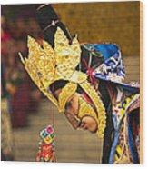 Masked Lama Performing Ritual Dance Wood Print