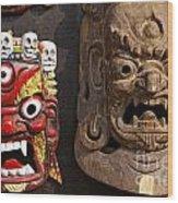Masks In Kathmandu Nepal Wood Print
