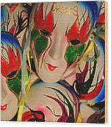 Masks Of New Orleans Wood Print