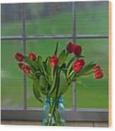 Mason Jar With Tulips Wood Print by Kay Pickens