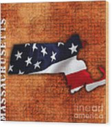 Massachusetts American Flag State Map Wood Print