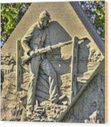Massachusetts At Gettysburg 1st Mass. Volunteer Infantry Skirmishers Close 1 Steinwehr Ave Autumn Wood Print by Michael Mazaika