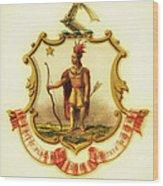 Massachusetts Coat Of Arms - 1876 Wood Print