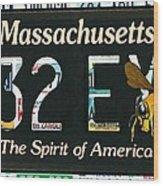 Massachusetts License Plate Wood Print