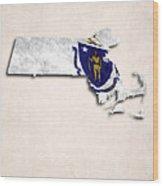 Massachusetts Map Art With Flag Design Wood Print