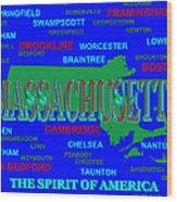 Massachusetts State Pride Map Silhouette  Wood Print