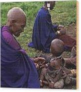 Massai Women And Child - Tanzania Wood Print by Craig Lovell