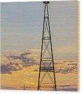 Massey Windmill Silhouette Wood Print