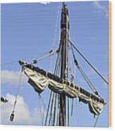 Mast And Rigging On A Replica Of The Christopher Columbus Ship P Wood Print