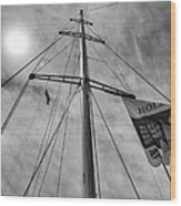 Mast Of Yacht Wood Print
