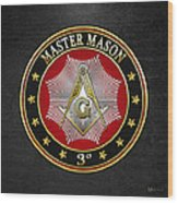 Master Mason - 3rd Degree Square And Compasses Jewel On Black Leather Wood Print