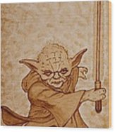 Master Yoda Jedi Fight Beer Painting Wood Print