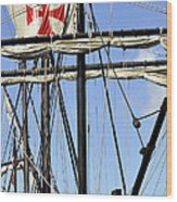 Masts And Rigging On A Replica Of The Christopher Columbus Ship  Wood Print