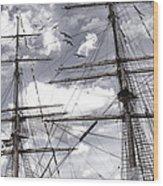 Masts Of Sailing Ships Wood Print
