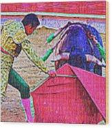 Matador Leading Bull Wood Print