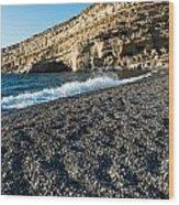 Matala Beach Wood Print by Luis Alvarenga