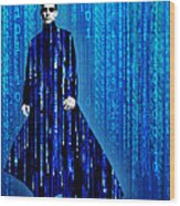 Matrix Neo Keanu Reeves Wood Print by Tony Rubino