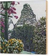 Matterhorn Mountain With Flowers At Disneyland Wood Print