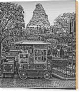 Matterhorn Mountain With Hot Popcorn At Disneyland Bw Wood Print