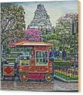 Matterhorn Mountain With Hot Popcorn At Disneyland Textured Sky Wood Print