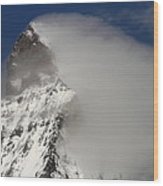 Matterhorn Peak Shrouded In Clouds Wood Print by Jetson Nguyen