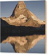 Matterhorn Reflected In Riffelsee Lake  Wood Print