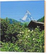 Matterhorn With Mountain Chalet Wood Print