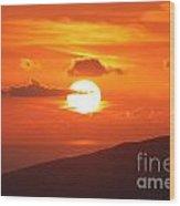 Maui Kulamalu Sunset 3 Wood Print
