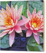 Maui Lotus Blossoms Wood Print