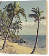 Maui Lu Beach Hawaii Wood Print