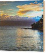 Maui Palm Sunset Wood Print