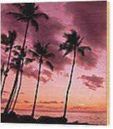 Maui Silhouette Sunset Wood Print