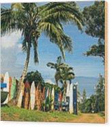 Maui Surfboard Fence - Peahi Wood Print